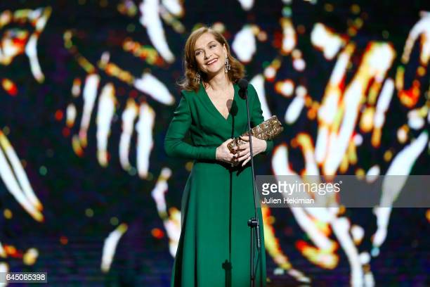 Isabelle Huppert receives the Cesar of best actress in 'Elle' during the Cesar Film Awards Ceremony at Salle Pleyel on February 24 2017 in Paris...