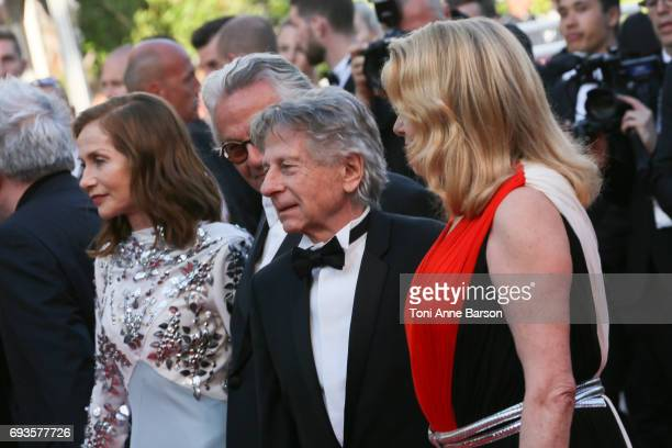 Isabelle Huppert Roman Polanski and Catherine Deneuve attend the 70th anniversary event during the 70th annual Cannes Film Festival at Palais des...
