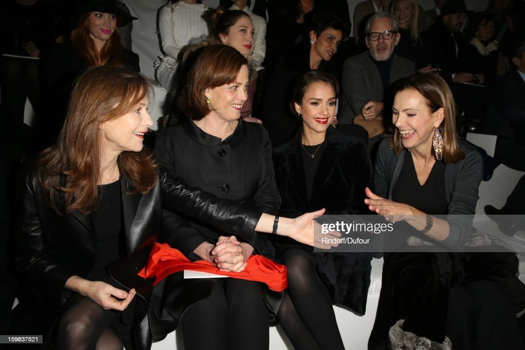 <a gi-track='captionPersonalityLinkClicked' href=/galleries/search?phrase=Isabelle+Huppert&family=editorial&specificpeople=662796 ng-click='$event.stopPropagation()'>Isabelle Huppert</a>, <a gi-track='captionPersonalityLinkClicked' href=/galleries/search?phrase=Sigourney+Weaver&family=editorial&specificpeople=201647 ng-click='$event.stopPropagation()'>Sigourney Weaver</a>, <a gi-track='captionPersonalityLinkClicked' href=/galleries/search?phrase=Jessica+Alba&family=editorial&specificpeople=201811 ng-click='$event.stopPropagation()'>Jessica Alba</a> and <a gi-track='captionPersonalityLinkClicked' href=/galleries/search?phrase=Carole+Bouquet&family=editorial&specificpeople=208685 ng-click='$event.stopPropagation()'>Carole Bouquet</a> attend the Christian Dior Spring/Summer 2013 Haute-Couture show as part of Paris Fashion Week at on January 21, 2013 in Paris, France.
