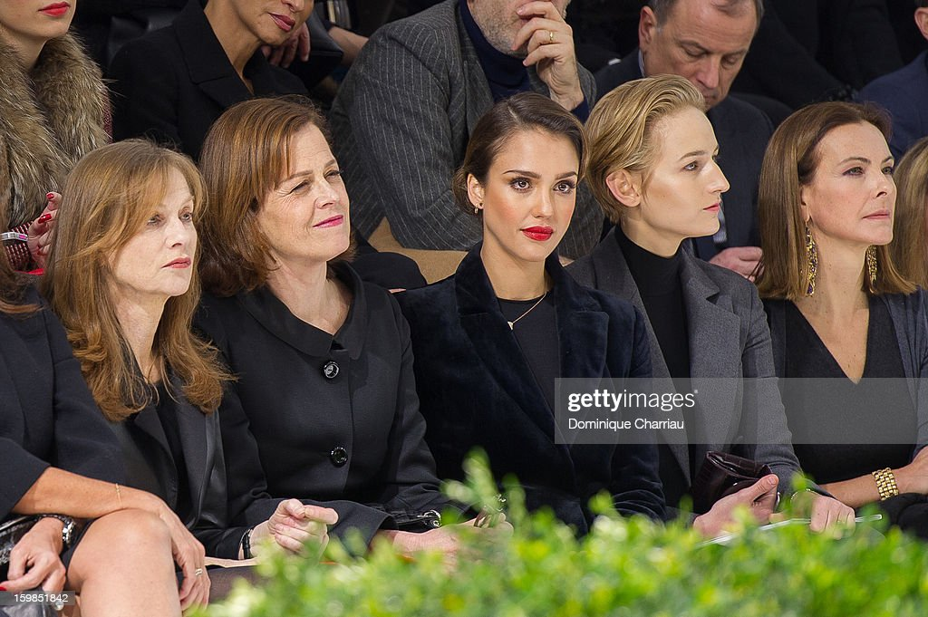 <a gi-track='captionPersonalityLinkClicked' href=/galleries/search?phrase=Isabelle+Huppert&family=editorial&specificpeople=662796 ng-click='$event.stopPropagation()'>Isabelle Huppert</a>, <a gi-track='captionPersonalityLinkClicked' href=/galleries/search?phrase=Sigourney+Weaver&family=editorial&specificpeople=201647 ng-click='$event.stopPropagation()'>Sigourney Weaver</a>, <a gi-track='captionPersonalityLinkClicked' href=/galleries/search?phrase=Jessica+Alba&family=editorial&specificpeople=201811 ng-click='$event.stopPropagation()'>Jessica Alba</a>, <a gi-track='captionPersonalityLinkClicked' href=/galleries/search?phrase=Leelee+Sobieski&family=editorial&specificpeople=207006 ng-click='$event.stopPropagation()'>Leelee Sobieski</a> and <a gi-track='captionPersonalityLinkClicked' href=/galleries/search?phrase=Carole+Bouquet&family=editorial&specificpeople=208685 ng-click='$event.stopPropagation()'>Carole Bouquet</a> attend the Christian Dior Spring/Summer 2013 Haute-Couture show as part of Paris Fashion Week at on January 21, 2013 in Paris, France.