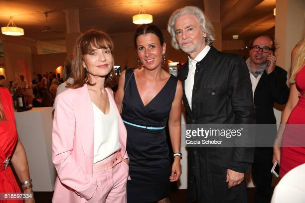 Isabelle Huppert Stephanie Goettmann and CEO Lambertz Hermann Buehlbecker during the media night of the CHIO 2017 on July 18 2017 in Aachen Germany
