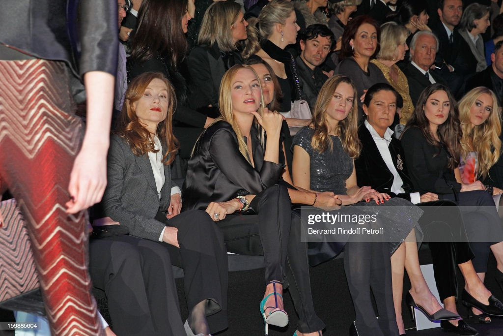 <a gi-track='captionPersonalityLinkClicked' href=/galleries/search?phrase=Isabelle+Huppert&family=editorial&specificpeople=662796 ng-click='$event.stopPropagation()'>Isabelle Huppert</a>, <a gi-track='captionPersonalityLinkClicked' href=/galleries/search?phrase=Uma+Thurman&family=editorial&specificpeople=171973 ng-click='$event.stopPropagation()'>Uma Thurman</a>, <a gi-track='captionPersonalityLinkClicked' href=/galleries/search?phrase=Roberta+Armani&family=editorial&specificpeople=2082135 ng-click='$event.stopPropagation()'>Roberta Armani</a>, <a gi-track='captionPersonalityLinkClicked' href=/galleries/search?phrase=Hilary+Swank&family=editorial&specificpeople=201692 ng-click='$event.stopPropagation()'>Hilary Swank</a>, guest, Amber Lebon and Lady <a gi-track='captionPersonalityLinkClicked' href=/galleries/search?phrase=Mary+Charteris&family=editorial&specificpeople=4361110 ng-click='$event.stopPropagation()'>Mary Charteris</a> attend the Giorgio Armani Prive Spring/Summer 2013 Haute-Couture show as part of Paris Fashion Week at Theatre National de Chaillot on January 22, 2013 in Paris, France.