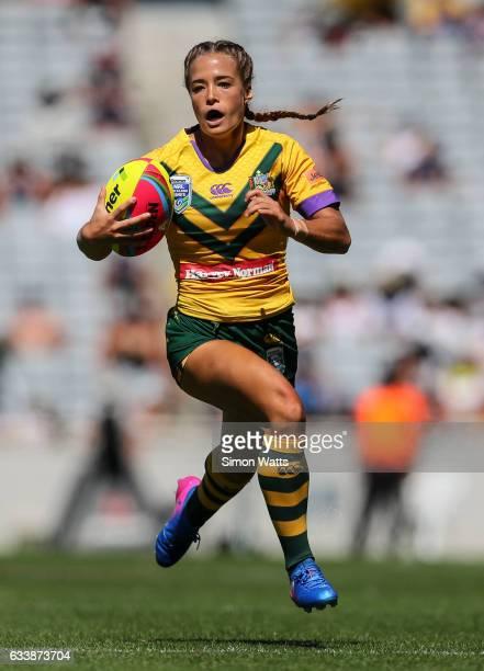 Isabelle Kelly of the Jillaroos makes a break during the 2017 Auckland Nines match between the Australian Jillaroos and the Kiwi Ferns at Eden Park...