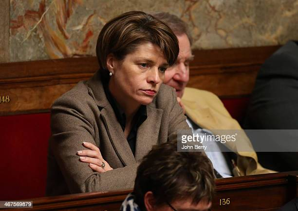 MP Isabelle Le Calleniec of UMP participates at the Questions to the Government at the french National Assembly on February 4 2014 in Paris France