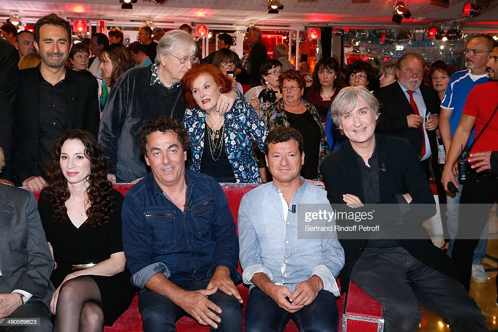 Isabelle Le Nouvel, Eric Carriere, Francis Ginibre, Jean Plantu, (back L-R) Mathieu Madenian, Louis velle and his wife Frederique Hebrard attend the 'Vivement Dimanche' French TV show at Pavillon Gabriel on May 14, 2014 in Paris, France.