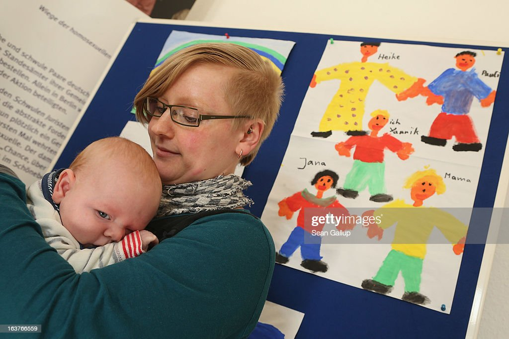 Isabelle Materna, who is lesbian, and her three-month-old son Arved attend the opening of Germany's first gay parent counseling center on March 15, 2013 in Berlin, Germany. The Regenbogenfamilien Zentrum (Rainbow Families Center) will provide counseling and other services to families with gay, lesbian and transgender parents. Gay marriage is legal in Germany though gay couples are not entitled to the same full legal rights as heterosexual couples, and the issue of child adoption by gay couples remains legally somewhat complicated.