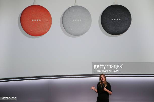 Isabelle Olsson lead designer for home hardware for Google Inc introduces the new Google Home Mini at a product launch event October 4 at the SFJAZZ...