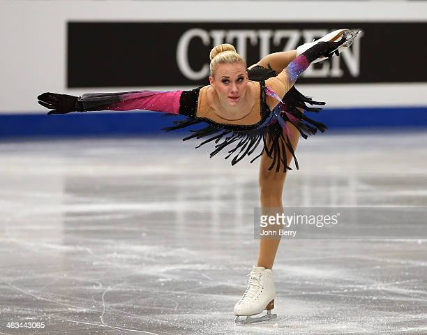 Isabelle Olsson of Sweden competes in the Ladies Free Skating event of the ISU European Figure Skating Championships 2014 held at the Syma Hall...