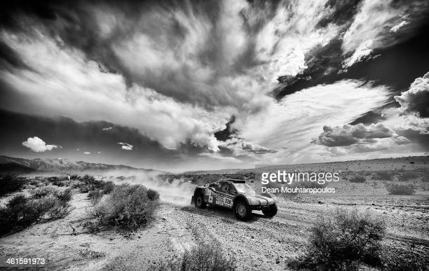 Isabelle Patissier and Thierry DelliZotti of France for Buggy DelliZotti Competition compete during Day 5 of the 2014 Dakar Rally on January 9 2014...