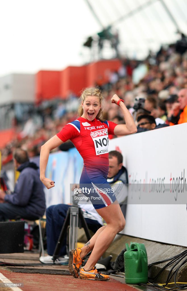 Isabelle Pedersen of Norway poses as she competes in the womens long jump during day two of the European Athletics Team Championships at Gateshead International Stadium on June 23, 2013 in Gateshead, England.