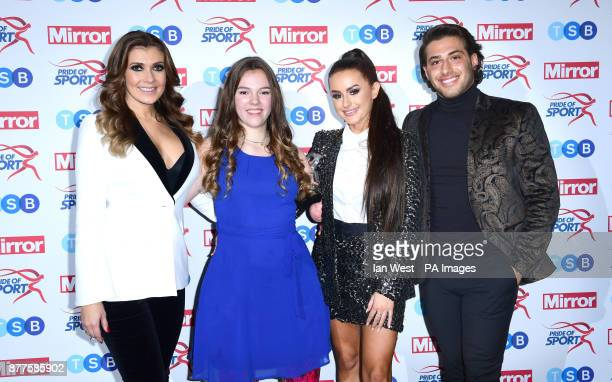 Isabelle Weall wins the Young Achiever Award at the Pride of Sport awards presented by Kym Marsh Amber Davies and Kem Cetinay at the Grosvenor House...