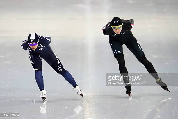Isabelle Weidemann of Canada and BoReum Kim of South Korea competesin the 5000m Ladies race on Day Three of the Speed Skating ISU World Cup on...