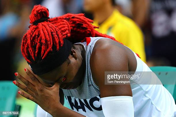 Isabelle Yacoubou of France reacts after France is defeated by Serbia 6370 in the Women's Bronze Medal basketball game on Day 15 of the Rio 2016...