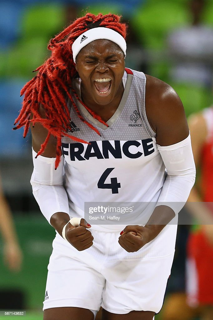 Isabelle Yacoubou #4 of France reacts to scoring against Belarus during a Women's Basketball Preliminary Round game on August 7, 2016 in Rio de Janeiro, Brazil.