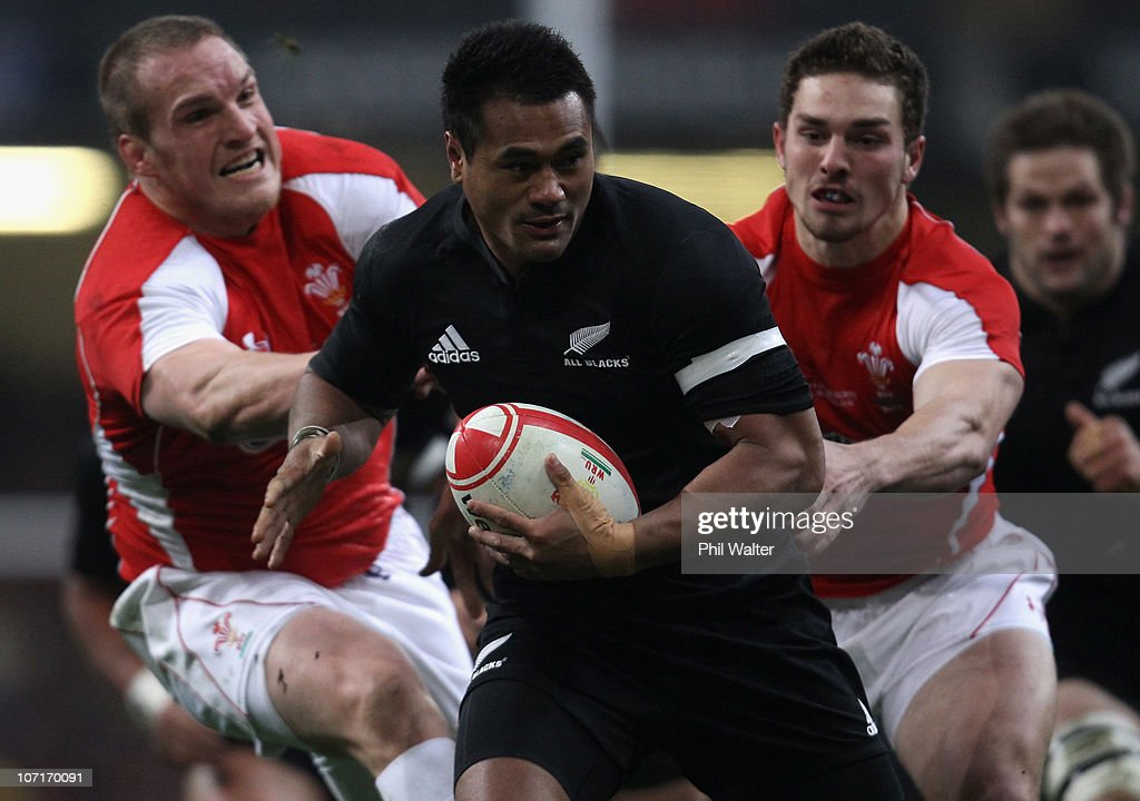 Isaia Toeava of the All Blacks breaks through the Wales defence during the Test match between Wales and the New Zealand All Blacks at Millennium Stadium on November 27, 2010 in Cardiff, Wales.