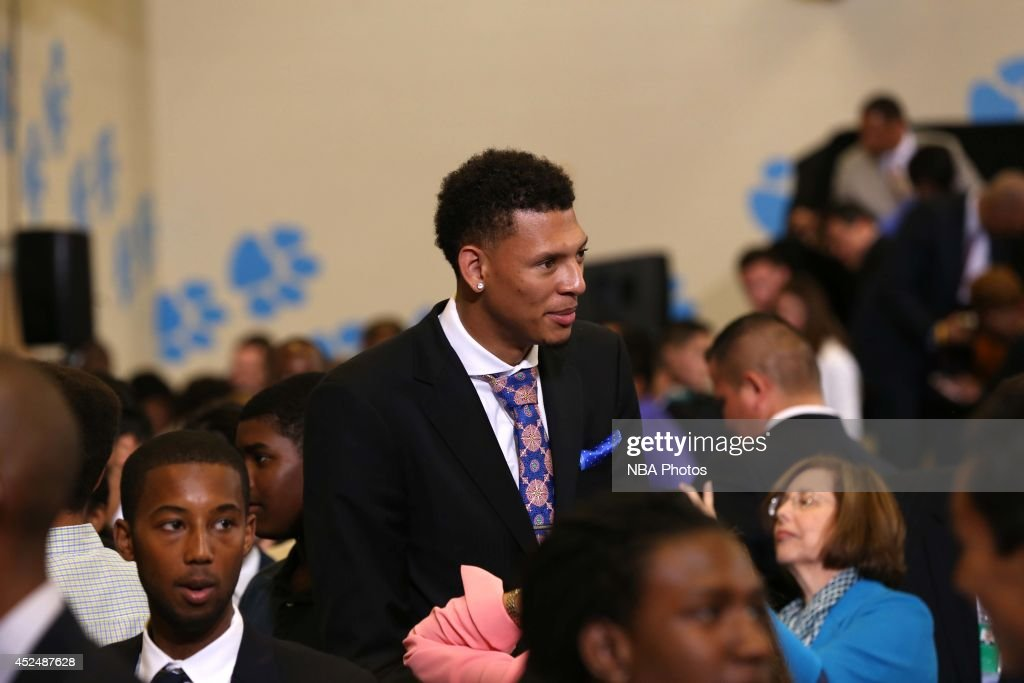 Isaiah Austin looks on during the My Brother's Keeper Initiative with President Barack Obama on July 21, 2014 at the Walker Jones Education Campus in Washington DC.