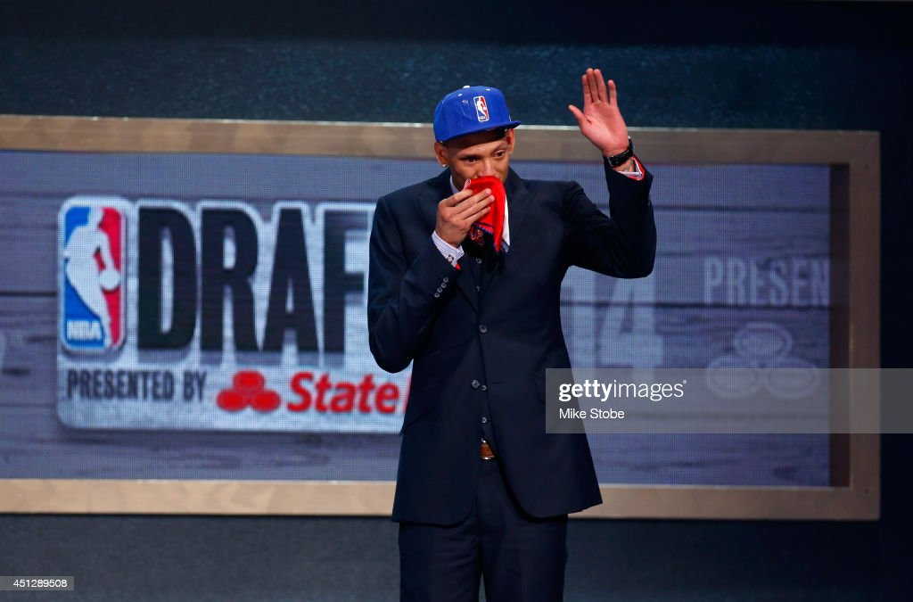 Isaiah Austin of Baylor is honored on stage during the 2014 NBA Draft at Barclays Center on June 26, 2014 in the Brooklyn borough of New York City.