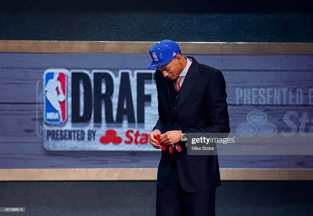 Isaiah Austin of Baylor is honored on stage during the 2014 NBA Draft at Barclays Center on June 26 2014 in the Brooklyn borough of New York City...