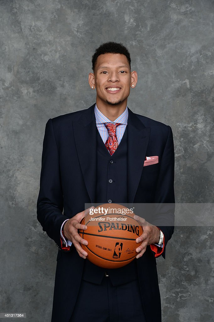Isaiah Austin of Baylor University drafted by the NBA poses for portraits during the 2014 NBA Draft at the Barclays Center on June 26 2014 in the...