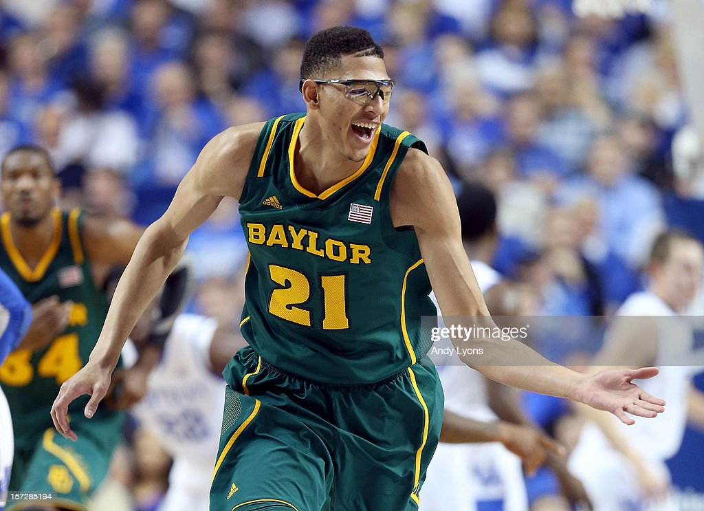 Isaiah Austin of the Baylor Bears celebrates during the game against the Kentucky Wildcats at Rupp Arena on December 1 2012 in Lexington Kentucky