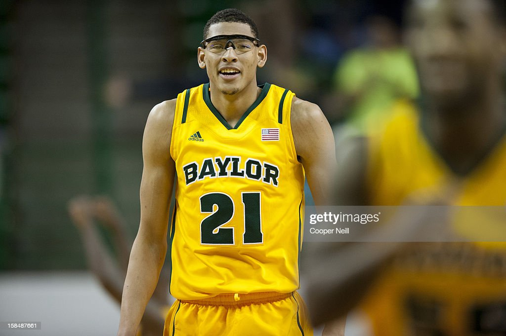Isaiah Austin #21 of the Baylor University Bears smiles against the USC Upstate Spartans on December 17, 2012 at the Ferrell Center in Waco, Texas.