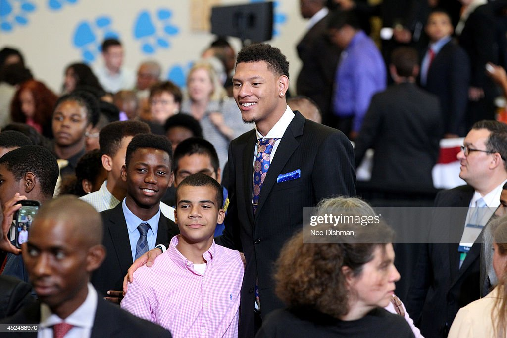 <a gi-track='captionPersonalityLinkClicked' href=/galleries/search?phrase=Isaiah+Austin&family=editorial&specificpeople=9082709 ng-click='$event.stopPropagation()'>Isaiah Austin</a> smiles during the My Brother's Keeper Initiative on July 21, 2014 at the Walker Jones Education Campus in Washington DC.