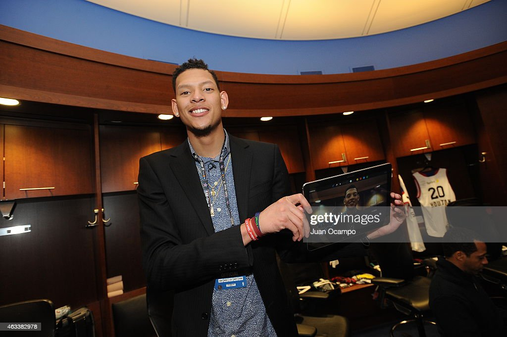 <a gi-track='captionPersonalityLinkClicked' href=/galleries/search?phrase=Isaiah+Austin&family=editorial&specificpeople=9082709 ng-click='$event.stopPropagation()'>Isaiah Austin</a> smiles for a photo during the Sprint NBA All-Star Celebrity Game as part of 2015 All-Star Weekend at Madison Square Garden on February 13, 2015 in New York, New York.
