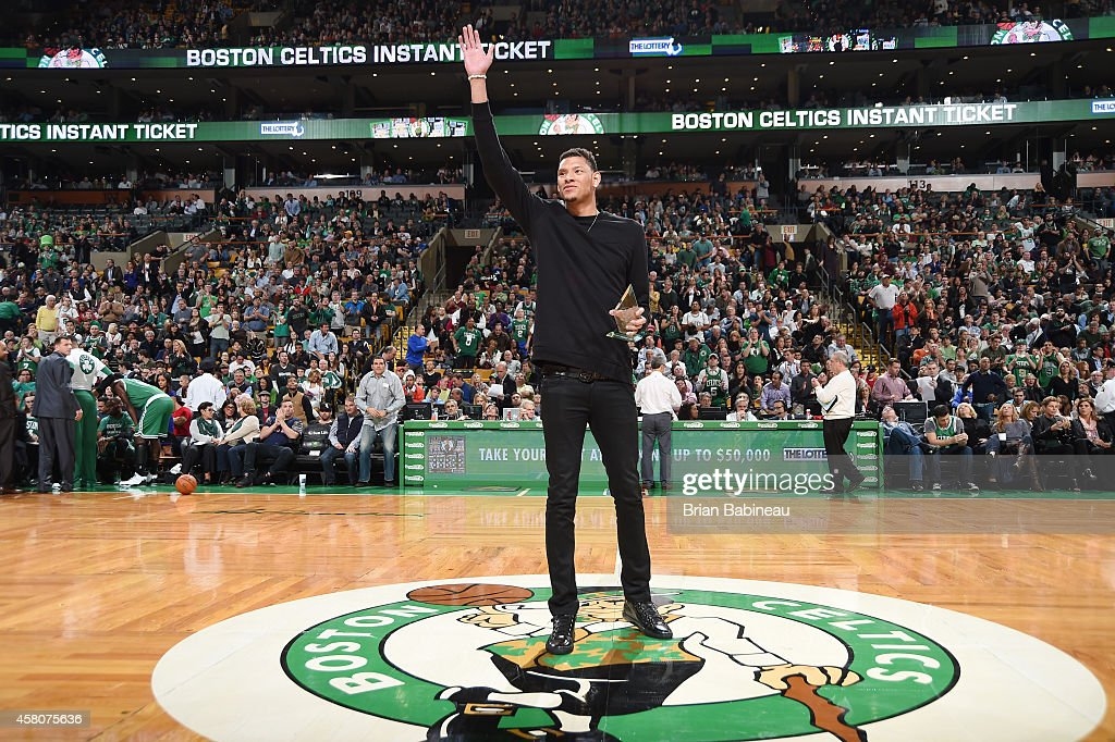 Isaiah Austin was honored with a Boston Celtics personalized jersey for being part of the Hero Among Us program on October 29 2014 at the TD Garden...