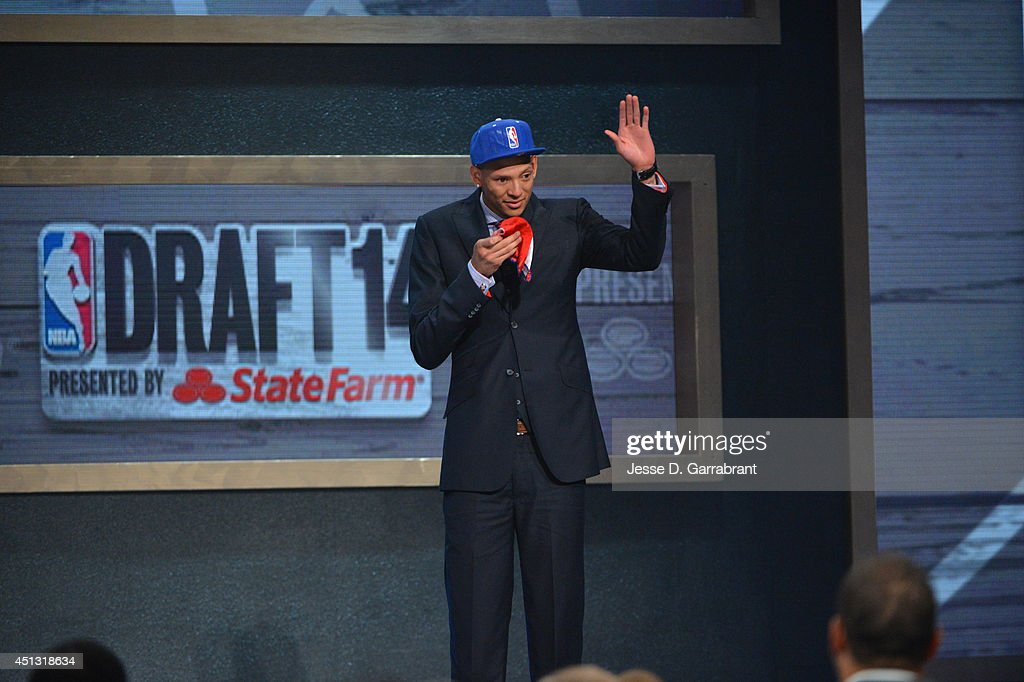 Isaiah Austin waves to the crowd during the 2014 NBA Draft on June 26 2014 at Barclays Center in Brooklyn New York NOTE TO USER User expressly...