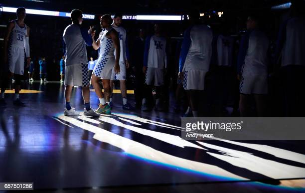 Isaiah Briscoe of the Kentucky Wildcats is introduced before the game against the UCLA Bruins during the 2017 NCAA Men's Basketball Tournament South...