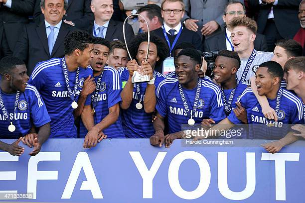 Isaiah Brown and his teammates of Chelsea FC celebrates Chelsea FC victory with the Lennart Johansson trophy following the UEFA Youth League final...