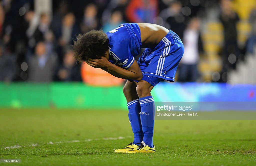 Isaiah Brown of Chelsea looks dejected at the final whistle during the FA Youth Cup Final First Leg match between Fulham U18 and Chelsea U18 at Craven Cottage on April 28, 2014 in London, England.