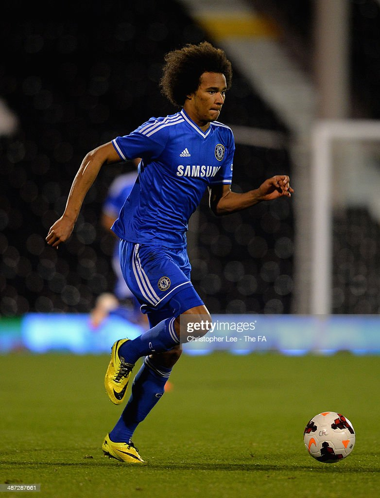 Isaiah Brown of Chelsea U18 in action during the FA Youth Cup Final First Leg match between Fulham U18 and Chelsea U18 at Craven Cottage on April 28, 2014 in London, England.