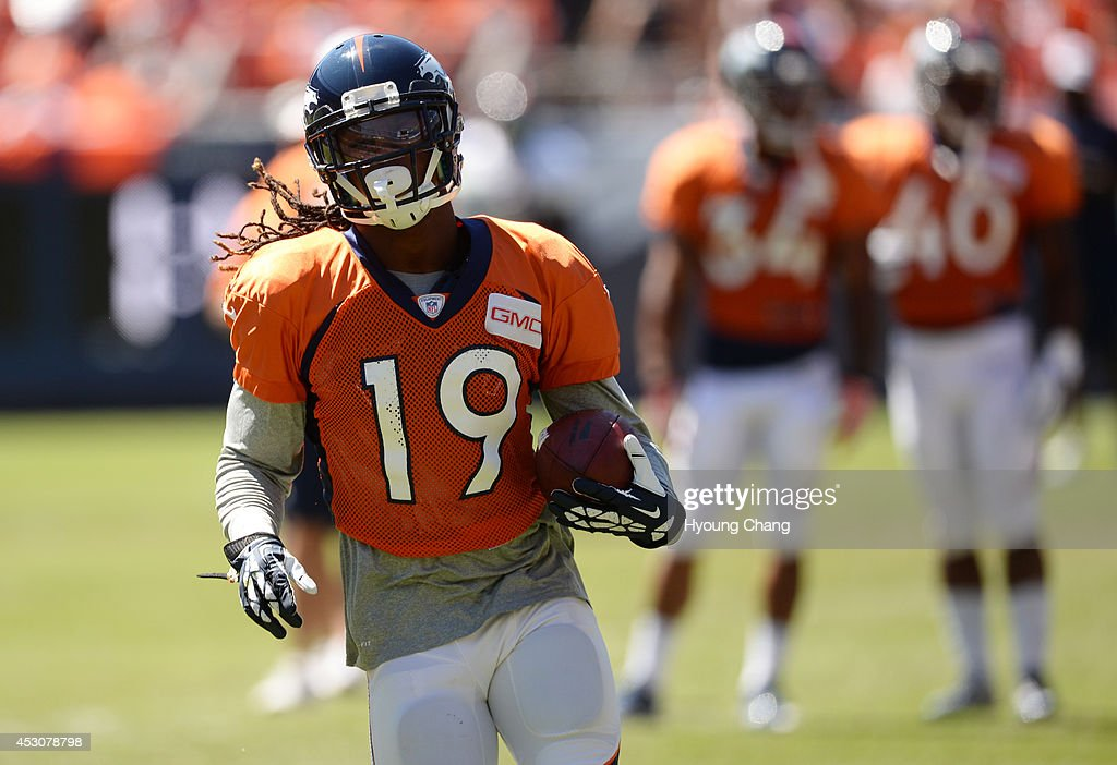 <a gi-track='captionPersonalityLinkClicked' href=/galleries/search?phrase=Isaiah+Burse&family=editorial&specificpeople=7228109 ng-click='$event.stopPropagation()'>Isaiah Burse</a> of Denver Broncos (19) is warming up for the Broncos scrimmage at Sports Authority Field at Mile High. Denver, Colorado. August 02. 2014.