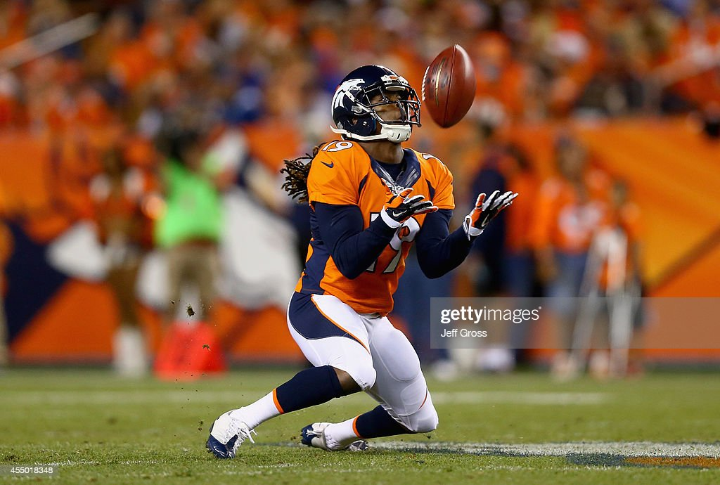 <a gi-track='captionPersonalityLinkClicked' href=/galleries/search?phrase=Isaiah+Burse&family=editorial&specificpeople=7228109 ng-click='$event.stopPropagation()'>Isaiah Burse</a> #19 of the Denver Broncos catches a punt against the Indianapolis Colts at Sports Authority Field at Mile High on September 7, 2014 in Denver, Colorado.