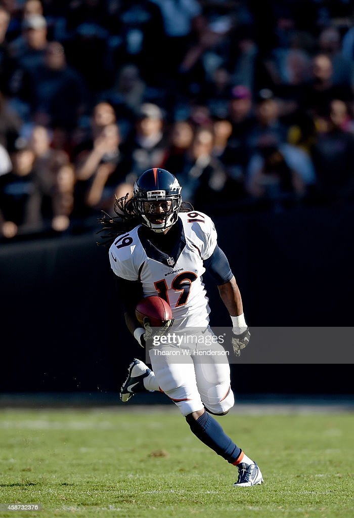 <a gi-track='captionPersonalityLinkClicked' href=/galleries/search?phrase=Isaiah+Burse&family=editorial&specificpeople=7228109 ng-click='$event.stopPropagation()'>Isaiah Burse</a> #19 of the Denver Broncos returns a punt against the Oakland Raiders during the second quarter at O.co Coliseum on November 9, 2014 in Oakland, California.