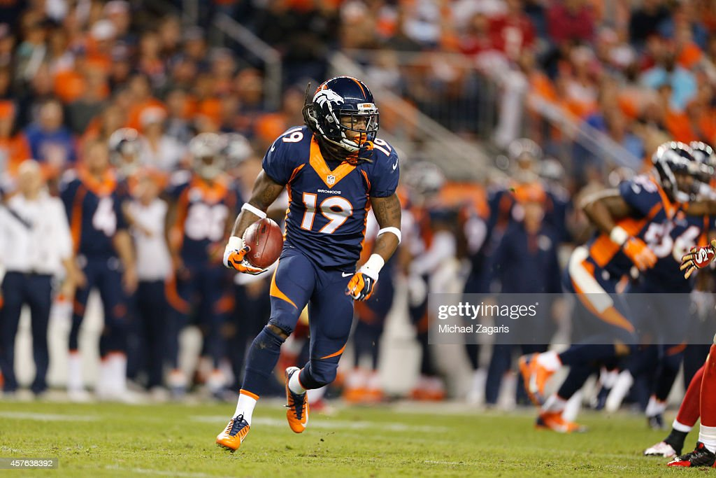 <a gi-track='captionPersonalityLinkClicked' href=/galleries/search?phrase=Isaiah+Burse&family=editorial&specificpeople=7228109 ng-click='$event.stopPropagation()'>Isaiah Burse</a> #19 of the Denver Broncos returns a punt during the game against the San Francisco 49ers at Sports Authority Field at Mile High on October 19, 2014 in Denver, Colorado. The Broncos defeated the 49ers 42-17.