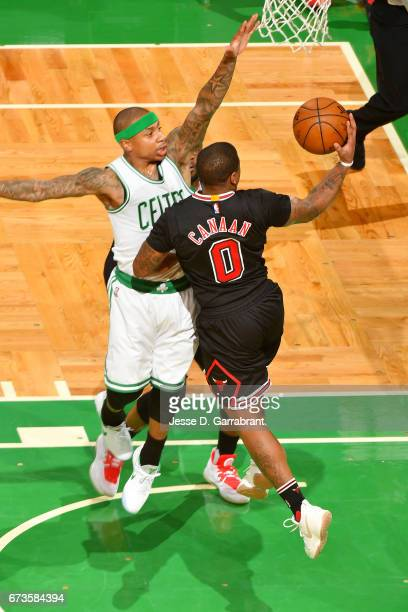 Isaiah Canaan of the Chicago Bulls goes for a lay up during the game against the Boston Celtics in Game Five of the Eastern Conference Quarterfinals...