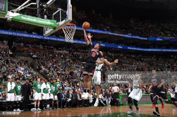 Isaiah Canaan of the Chicago Bulls goes to the basket against the Boston Celtics during Game Five of the Eastern Conference Quarterfinals of the 2017...