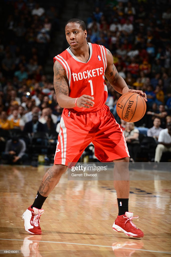Isaiah Canaan #1 of the Houston Rockets handles the ball against the Denver Nuggets on April 9, 2014 at the Pepsi Center in Denver, Colorado.