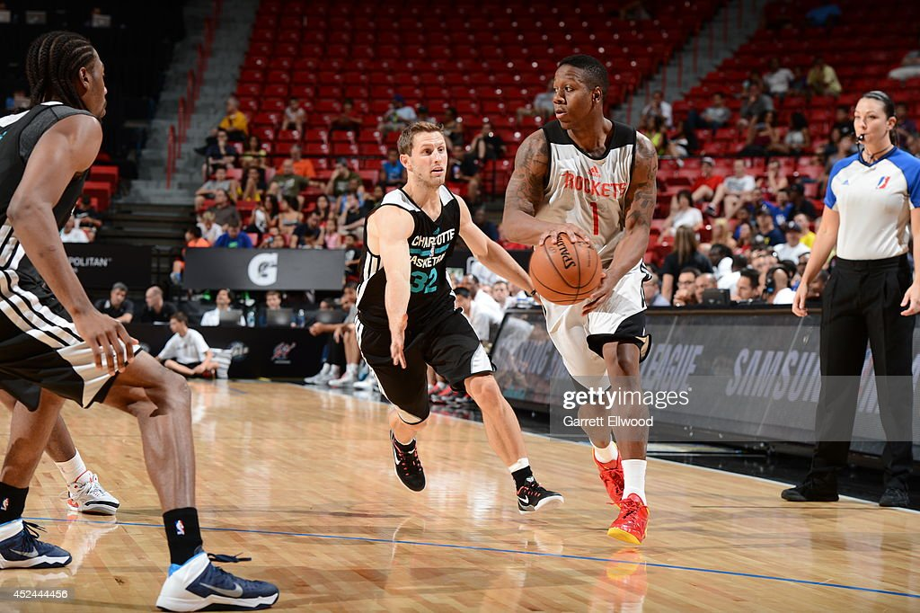 Isaiah Canaan #1 of the Houston Rockets moves the ball up-court against the Charlotte Hornets at the Samsung NBA Summer League 2014 on July 20, 2014 at the Thomas and Mack Center in Las Vegas, Nevada.