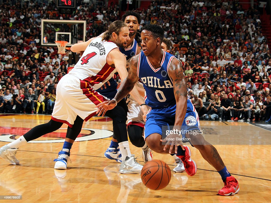 Miami heat basket - Isaiah Canaan 0 Of The Philadelphia 76ers Drives To The Basket Against The Miami Heat