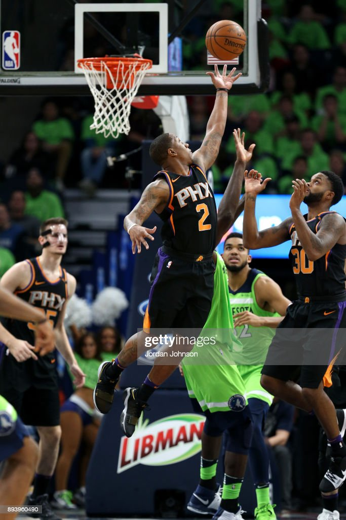Isaiah Canaan #2 of the Phoenix Suns goes up for a rebound against the Minnesota Timberwolves on December 16, 2017 at Target Center in Minneapolis, Minnesota.