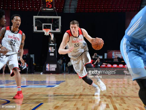 Isaiah Hartenstein of the Houston Rockets handles the ball against the Denver Nuggets during the 2017 Summer League on July 12 2017 at the Thomas...