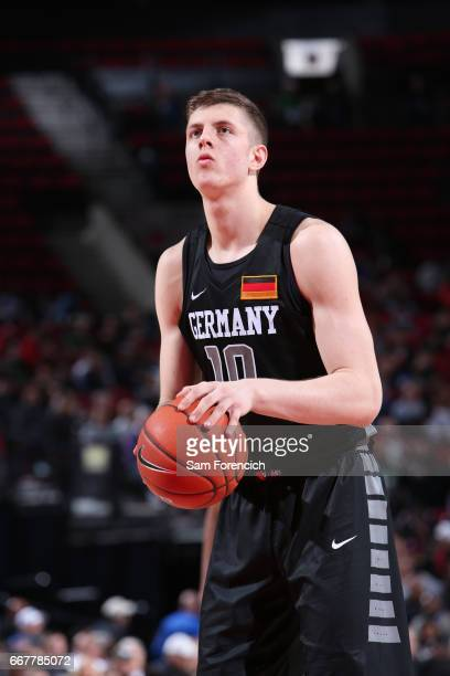 Isaiah Hartenstein of the World Select Team shoots against the USA Junior Select Team during the game on April 7 2017 at the MODA Center Arena in...