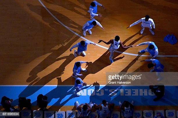 Isaiah Hicks of the North Carolina Tar Heels is introduced during the game against the Florida State Seminoles at the Dean Smith Center on January 14...