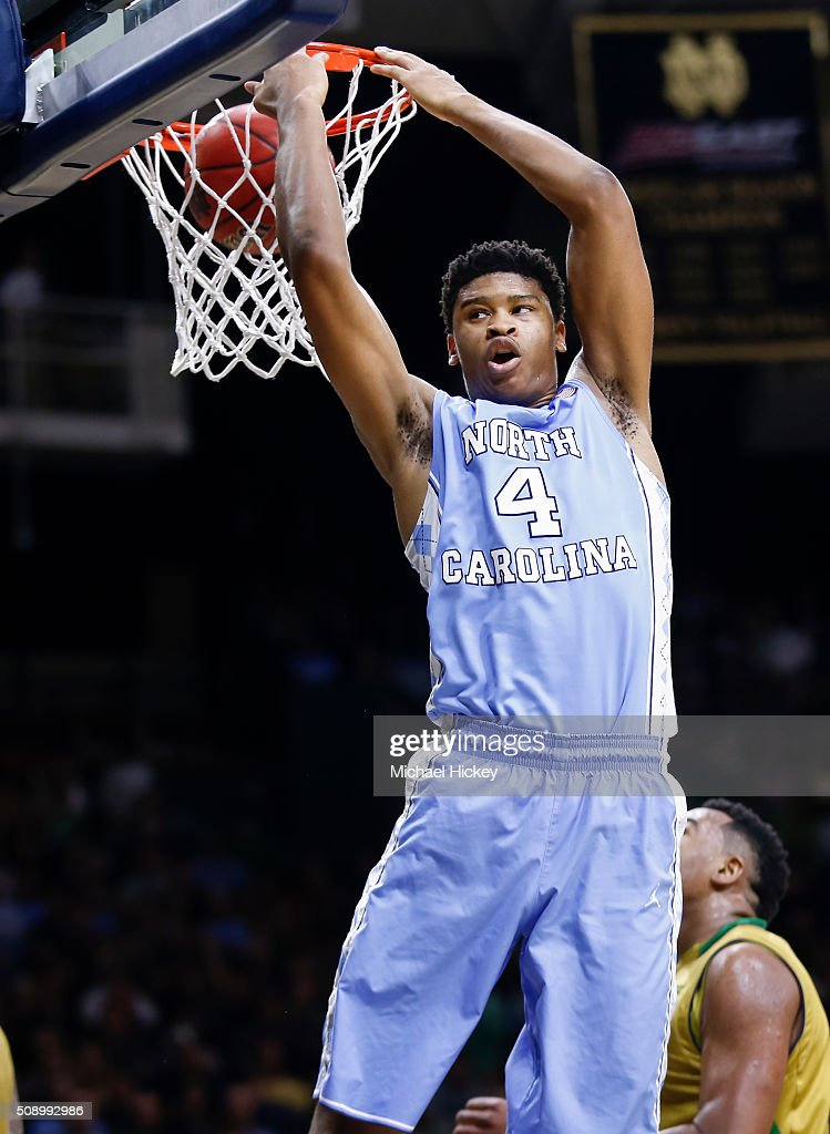 Isaiah Hicks #4 of the North Carolina Tar Heels is seen during the game against the Notre Dame Fighting Irish at Purcell Pavilion on February 6, 2016 in South Bend, Indiana. Notre Dame defeated North Carolina 80-76.