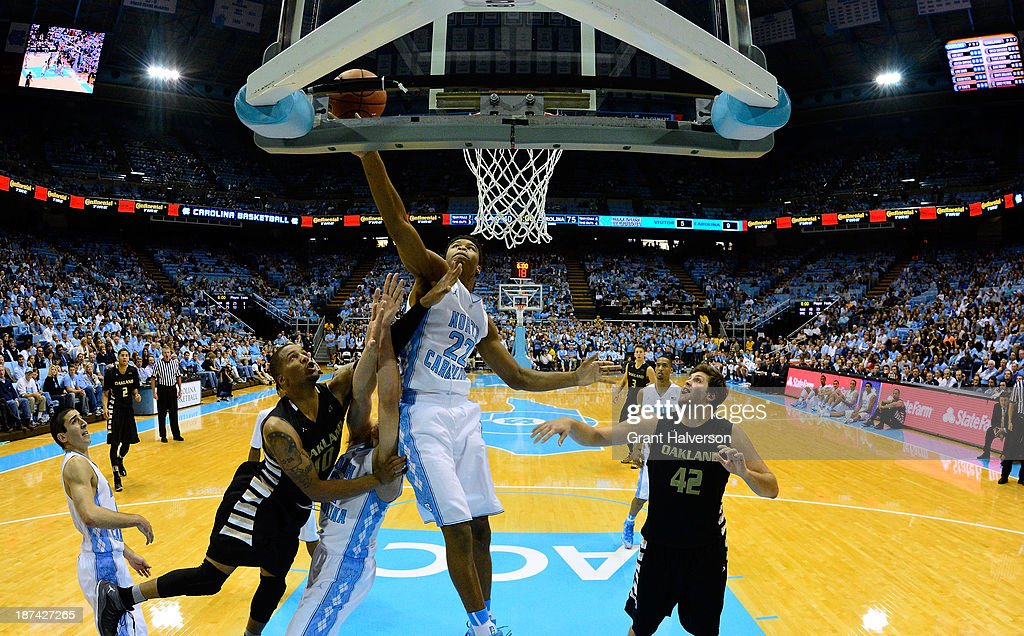 Isaiah Hicks #22 of the North Carolina Tar Heels pulls down a rebound against the Oakland Golden Grizzlies during play at the Dean Smith Center on November 8, 2013 in Chapel Hill, North Carolina. North Carolina won 84-61.