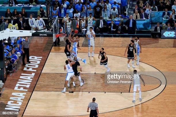 Isaiah Hicks of the North Carolina Tar Heels shoots against Johnathan Williams of the Gonzaga Bulldogs in the second half during the 2017 NCAA Men's...