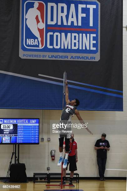 Isaiah Hicks participates in drills during Day Two of the NBA Draft Combine at Quest MultiSport Complex on May 12 2017 in Chicago Illinois NOTE TO...